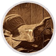 An Old Saddle Round Beach Towel by American West Legend By Olivier Le Queinec