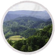 An Old Shack Hidden Away In The Blue Ridge Mountains Round Beach Towel
