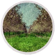 An Orchard In Blossom In The Eila Valley Round Beach Towel