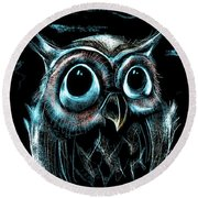 An Owl Friend Round Beach Towel