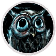 An Owl Friend Round Beach Towel by Alessandro Della Pietra