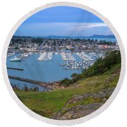 Round Beach Towel featuring the photograph Anacortes Peaceful Morning by Ken Stanback