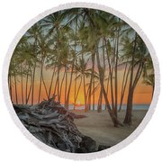 Anaehoomalu Beach Sunset Round Beach Towel