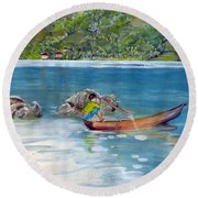 Round Beach Towel featuring the painting Anak Dan Perahu by Melly Terpening