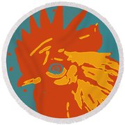 Analog Rooster Rocks Round Beach Towel