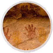 Anasazi Painted Handprints - Utah Round Beach Towel by Gary Whitton