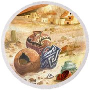 Round Beach Towel featuring the painting Anasazi Remnants by Marilyn Smith