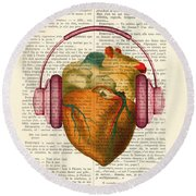 Anatomical Heart And Headphonesin Color  Round Beach Towel