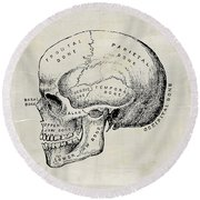 Anatomical Skull Medical Art Round Beach Towel