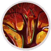 Round Beach Towel featuring the digital art Anatomy Abstract #1 Kidney by Russell Kightley