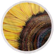 Anatomy Of A Sunflower Round Beach Towel by Ecinja Art Works