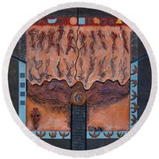 Ancestral Chart- Ancient Early - Hunters Gatherers - Chasseurs Cueilleurs - Cazadores Recolectores  Round Beach Towel