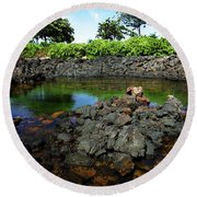 Round Beach Towel featuring the photograph Anchialine Pond by Anthony Jones