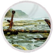 Round Beach Towel featuring the photograph Anchor At Rest by Angela DeFrias