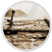 Round Beach Towel featuring the photograph Anchor At Rest Sepia Tones by Angela DeFrias