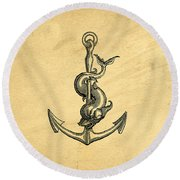 Round Beach Towel featuring the drawing Anchor Vintage by Edward Fielding