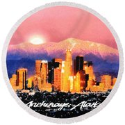 Anchorage - Bright-named Round Beach Towel by Elaine Ossipov