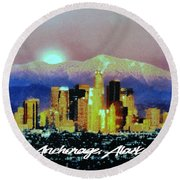 Anchorage-subdued Round Beach Towel by Elaine Ossipov