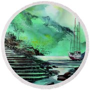 Round Beach Towel featuring the painting Anchored by Anil Nene