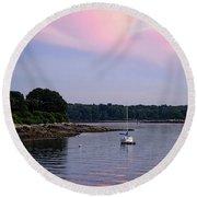 Anchored At Peaks Island, Maine  -07828 Round Beach Towel by John Bald