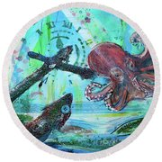 Round Beach Towel featuring the painting Anchors Away by TM Gand