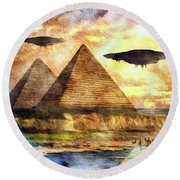 Ancient Aliens And Ancient Egypt Round Beach Towel