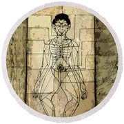 Ancient Art Mural Depicting The Sen Lines Round Beach Towel
