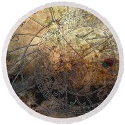 Round Beach Towel featuring the digital art Ancient Astrology Clock by Marianna Mills