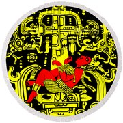 Ancient Astronaut Yellow And Red Version Round Beach Towel