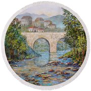 Ancient Bridge Round Beach Towel by Lou Ann Bagnall