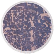 Ancient Carvings Round Beach Towel