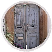 Ancient Garden Doors In Greece Round Beach Towel