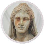 Ancient Greek Head Of Woman Round Beach Towel