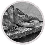 Ancient Greek Statue Round Beach Towel