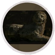 Round Beach Towel featuring the photograph Ancient Lion - Nocisia  by Jim Vance