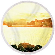 Ancient Marina Round Beach Towel