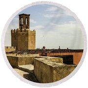 Ancient Moorish Citadel In Badajoz, Spain Round Beach Towel