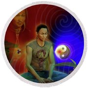 Round Beach Towel featuring the digital art Ancient Soul by Shadowlea Is