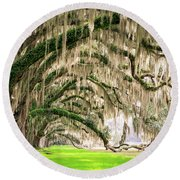 Ancient Southern Oaks Round Beach Towel
