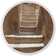 Ancient Stairs Round Beach Towel