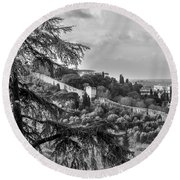 Ancient Walls Of Florence-bandw Round Beach Towel by Sonny Marcyan