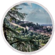 Ancient Walls Of Florence Round Beach Towel by Sonny Marcyan