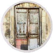 Ancient Wooden Door In Old Town. Limassol. Cyprus Round Beach Towel