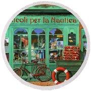 Ancora Una Bicicletta Rossa Round Beach Towel by Guido Borelli
