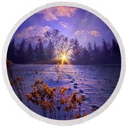 Round Beach Towel featuring the photograph And Back Again by Phil Koch