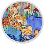 And Elephant Enters The Room Round Beach Towel