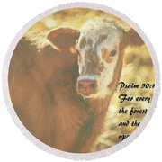 And The Cattle Round Beach Towel by Janice Rae Pariza