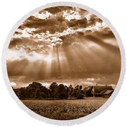 And The Heavens Opened 3 Round Beach Towel