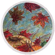 And The Leaves Came Tumbling Down Round Beach Towel