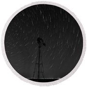 Round Beach Towel featuring the photograph And The Stars Rained Down Black And White by Karen Slagle